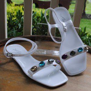NWT NIB Jelly Sandal WHITE Gems Crystals